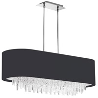 Dainolite Jasmine 8 Light Chandelier in Polished Chrome with Black Lycra Shade JAS-41C-PC-901