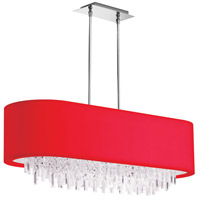 Dainolite Jasmine 8 Light Chandelier in Polished Chrome with Red Lycra Shade JAS-41C-PC-927
