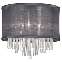 Dainolite Josephine 3 Light Flush Mount in Polished Chrome with Black Organza Shade JOS103FH-PC-115
