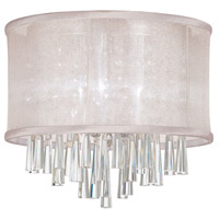 Dainolite Josephine 3 Light Flush Mount in Polished Chrome with Oyster Organza Shade JOS103FH-PC-117