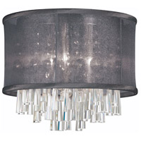 Dainolite Josephine 4 Light Flush Mount in Polished Chrome with Black Organza Shade JOS144FH-PC-115