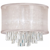 Dainolite Josephine 4 Light Flush Mount in Polished Chrome with Oyster Organza Shade JOS144FH-PC-117