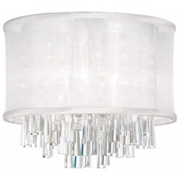 Dainolite Josephine 4 Light Flush Mount in Polished Chrome with White Organza Shade JOS144FH-PC-119
