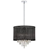 Dainolite Josephine 6 Light Chandelier in Polished Chrome with Black Organza Shade JOS156-PC-115