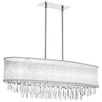 Dainolite Josephine 8 Light Oval Chandelier in Polished Chrome with White Organza Shade JOS368-PC-119