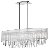 Dainolite Josephine 8 Light Oval Chandelier in Polished Chrome with Silver Organza Shade JOS368-PC-814