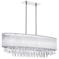 Dainolite Josephine 8 Light Oval Chandelier in Polished Chrome with White Lam Organza Shade JOS368-PC-819