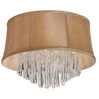 Dainolite Julia 3 Light Flush Mount in Polished Chrome with Silk Glow Latte Shade JUL143FH-PC-138