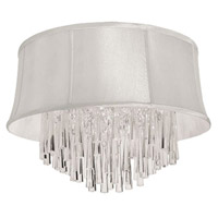 Dainolite Julia 3 Light Flush Mount in Polished Chrome with Silk Glow Pearl Shade JUL143FH-PC-140