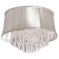 Dainolite Julia 4 Light Flush Mount in Polished Chrome with Oyster Organza Shade JUL184FH-PC-117