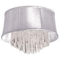 Dainolite Julia 4 Light Flush Mount in Polished Chrome with White Organza Shade JUL184FH-PC-119
