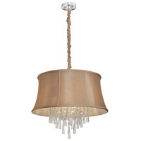 Dainolite Julia 6 Light Chandelier in Polished Chrome with Silk Glow Latte Shade JUL226-PC-138