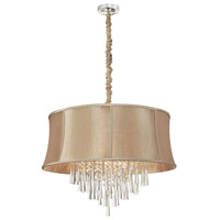 Dainolite Julia 8 Light Chandelier in Polished Chrome with Silk Glow Latte Shade JUL268-PC-138
