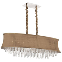 Dainolite Julia 8 Light Chandelier in Polished Chrome with Silk Glow Latte Shade JUL408-PC-138