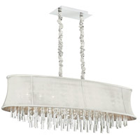 Dainolite Julia 8 Light Chandelier in Polished Chrome with Silk Glow Pearl Shade JUL408-PC-140