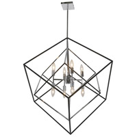 Dainolite KAP-308P-PC-MB Kappa 8 Light 30 inch Polished Chrome and Matte Black Pendant Ceiling Light