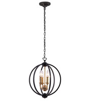 Karland 3 Light 14 inch Vintage Bronze and Matte Black Chandelier Ceiling Light