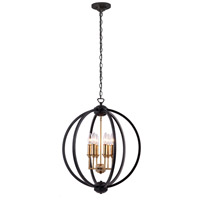 Karland 6 Light 20 inch Vintage Bronze and Matte Black Chandelier Ceiling Light
