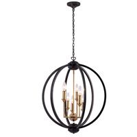 Karland 6 Light 24 inch Vintage Bronze and Matte Black Chandelier Ceiling Light