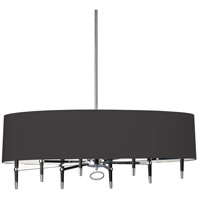 Dainolite LAN-408HC-PC-BK Langford 8 Light 45 inch Polished Chrome Chandelier Ceiling Light in Black