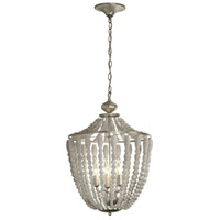 Dainolite Laura 5 Light Chandelier in Palladium Gold with White Washed Shade LAU-175C-PG