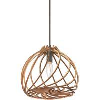 Dainolite LIL-91P-WD Lilian 1 Light 9 inch Wood Pendant Ceiling Light