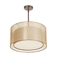 Dainolite Melissa 3 Light Pendant in Oil Brushed Bronze with Gold Lam Organza Shade MEL228-OBB-811 photo thumbnail