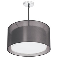 Dainolite Melissa 3 Light Pendant in Satin Chrome with Black Lam Organza Shade MEL228-SC-815 photo thumbnail
