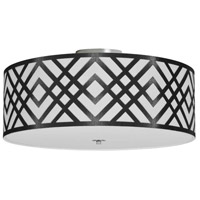 Dainolite MON-184FH-PC-BW Mona LED 19 inch Polished Chrome Flushmount Ceiling Light in Black and White