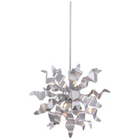 Miramar 6 Light 20 inch Silver Pendant Ceiling Light, Wavelet Ribbons