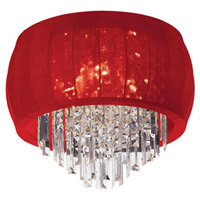 Dainolite Maya 3 Light Flush Mount in Polished Chrome with Red Lycra Shade MYA-14FH-PC-927
