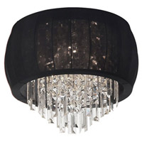 Dainolite Maya 4 Light Flush Mount in Polished Chrome with Black Lycra Shade MYA-19FH-PC-901