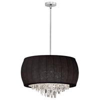 Dainolite Maya 6 Light Chandelier in Polished Chrome with Black Lycra Shade MYA-22C-PC-901 photo thumbnail