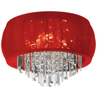 Dainolite MYA-26FH-PC-927 Maya LED 26 inch Polished Chrome Flush Mount Ceiling Light in Red Lycra