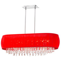 Dainolite Maya 8 Light Chandelier in Polished Chrome with Red Lycra Shade MYA-42C-PC-927