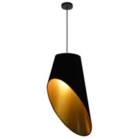 Dainolite ODS-1P-698 Slanted Drum LED 16 inch Black Pendant Ceiling Light