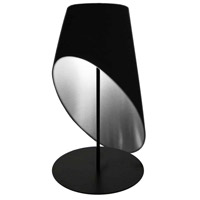 Slanted Drum 24 inch 60 watt Black Table Lamp Portable Light
