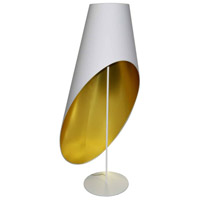 Dainolite ODS-3F-692 Slanted Drum 58 inch 40 watt White Floor Lamp Portable Light in Jewel Tone White on Gold Decorative