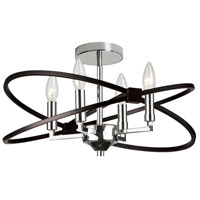 Dainolite PAL-184SF-PC-MB Paloma 4 Light 18 inch Polished Chrome and Matte Black Semi Flushmount Ceiling Light