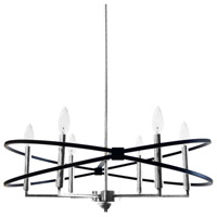Paloma 6 Light 27 inch Polished Chrome and Matte Black Chandelier Ceiling Light