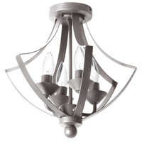 Dainolite Parkdale 4 Light Semi Flush in Satin Chrome with Frosted White Glass PAR-144SF-SC