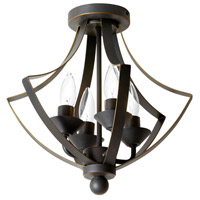 Parkdale 4 Light 14 inch Vintage Oiled Brushed Bronze Chandelier Ceiling Light