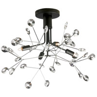 Dainolite PRS-194SF-BK-PC Primrose 4 Light 19 inch Clear and Black Semi Flush Mount Ceiling Light