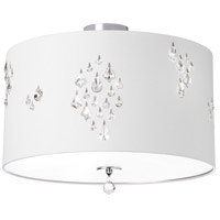 Dainolite Rhiannon 3 Light Semi-Flush Mount in Polished Chrome with White Baroness Shade RHI-143FH-PC-693