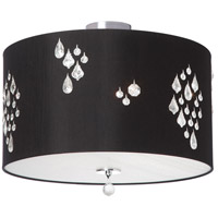 Dainolite Rhiannon 3 Light Semi-Flush Mount in Polished Chrome with Black Baroness Shade RHI-143FH-PC-694