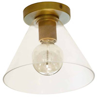 Dainolite RSW-91FH-AGB-CLR Roswell 1 Light 9 inch Aged Brass/Clear Flush Mount Ceiling Light