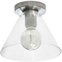 Dainolite RSW-91FH-SC-CLR Roswell 1 Light 9 inch Satin Chrome/Clear Flush Mount Ceiling Light