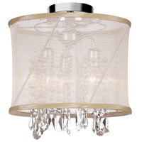 Dainolite Saffron 3 Light Semi-Flush Mount in Polished Chrome with Oyster Organza Shade SAF-12-3SF-117