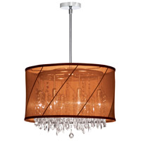 Dainolite Saffron 6 Light Chandelier in Polished Chrome with Organza Saffron Shade SAF-18-6-1007