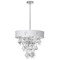 Dainolite Silhouette 5 Light Chandelier in Polished Chrome with Ivory Baroness Shade SIL-1805C-PC-693